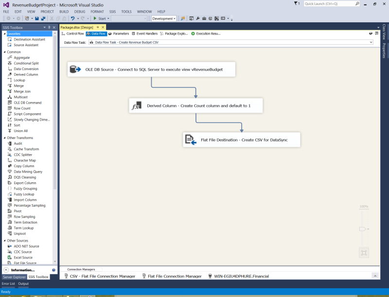 SSIS screenshot dataflow