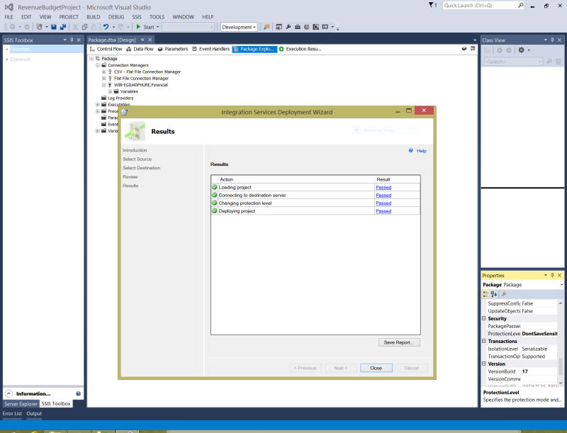 SSIS screenshot of package deployment